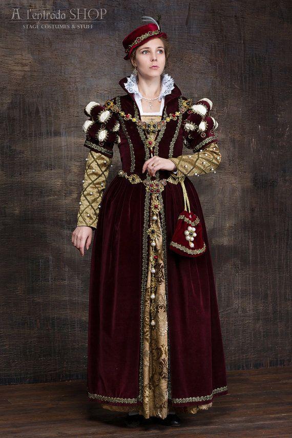 Dress English Renaissance 16th Queen Mary Century Stuart 6ygb7f