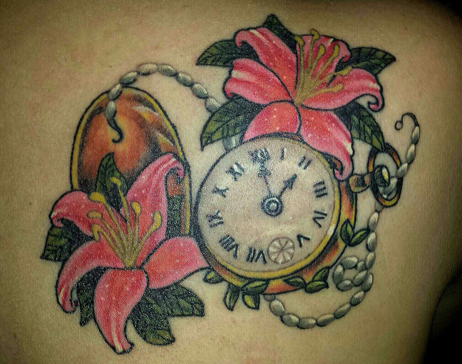 dd8866d79 Pocket watch with lilies tattoo | Tattoos