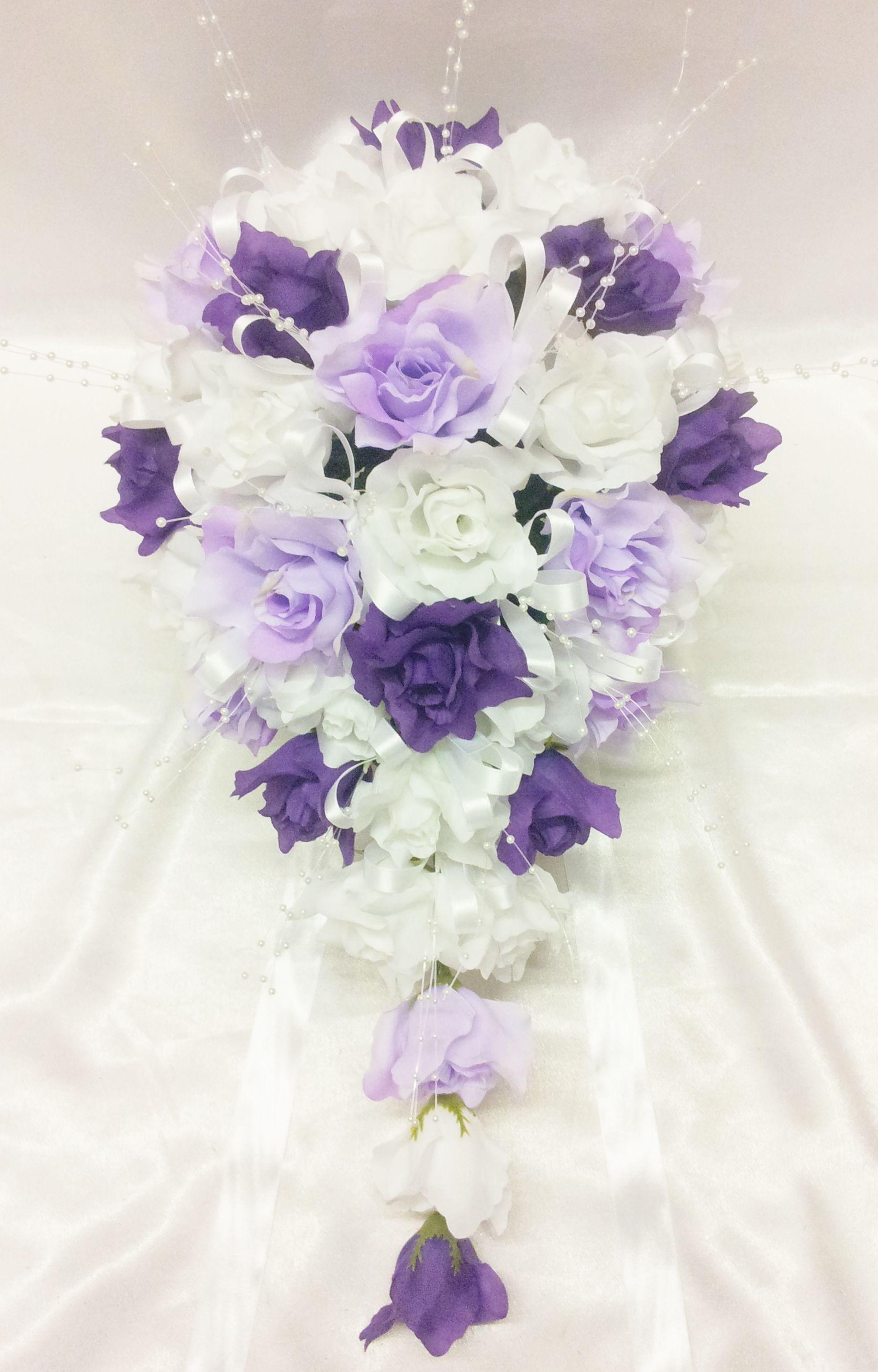 Cadbury Purple Silk Wedding Flowers : Details about silk artificial wedding flower bridal white