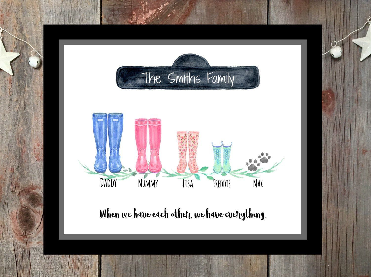 A4,A3 Wellie Gift Personalised Welly Boot Family Portrait Print Watercolour
