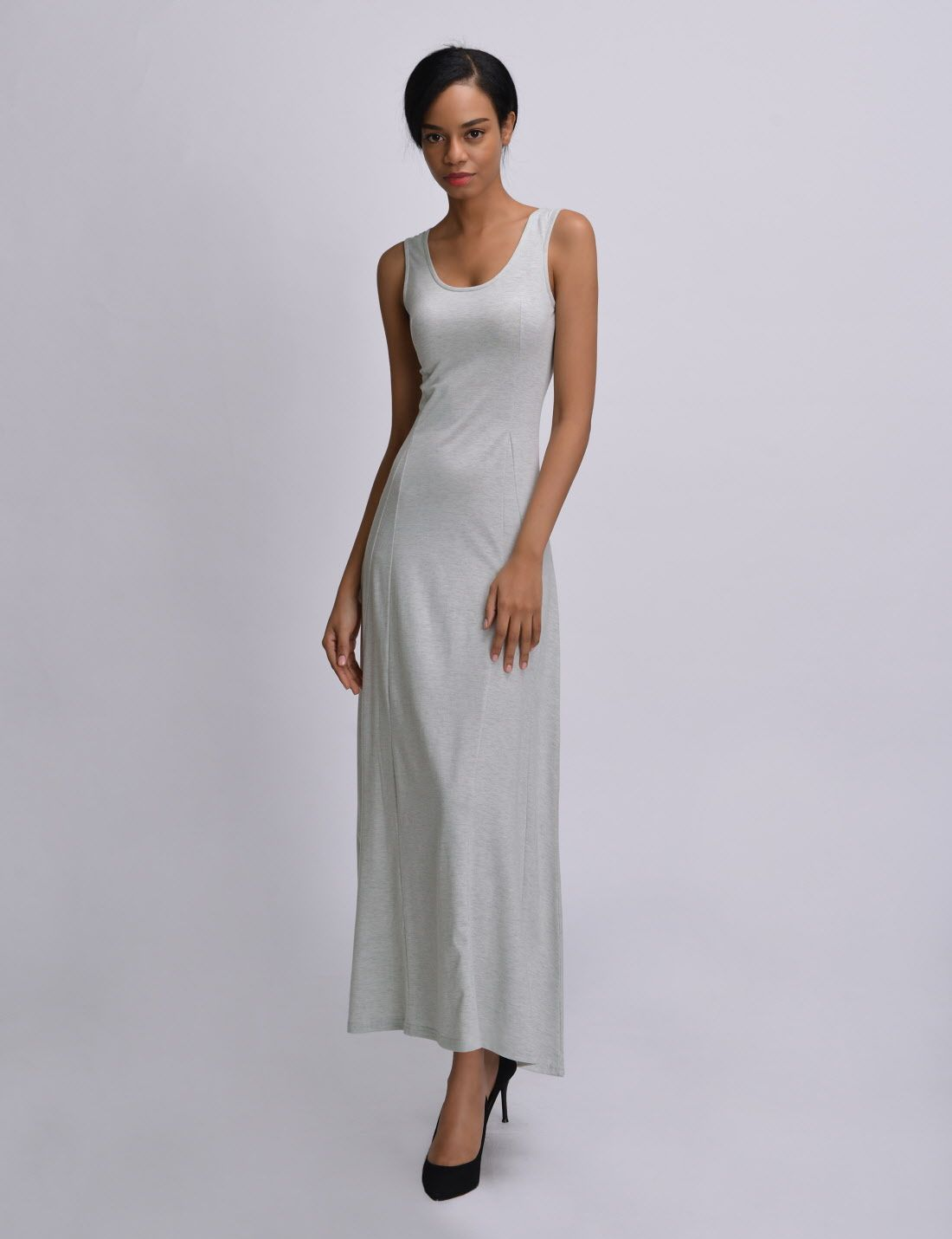 Nkwnld642 Thelees Womens Fitted One Piece Soft Stretchy Sleeveless Maxi Dress Dresses Sleeveless Maxi Dress Womens Dresses [ 1430 x 1100 Pixel ]