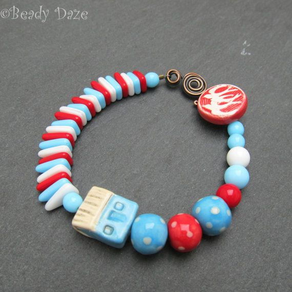 Seaside bracelet summer bracelet OOAK artisan jewelry by BeadyDaze, £23.50