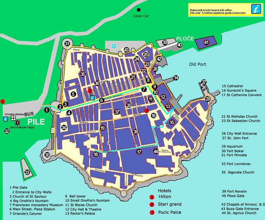 Karte Split Dubrovnik.Dubrovnik Walking Map Travel In 2019 Dubrovnik Old Town