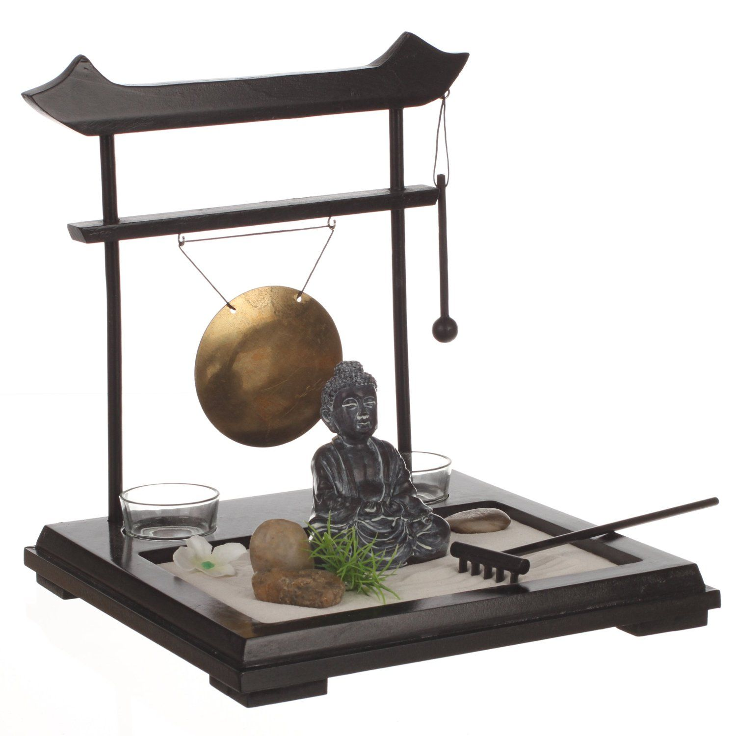 Zen Garden Set Buddha On Wooden Tray With Gong 2 Candleholders Flower And Plant Sand And Pebbles Etc Am Zen Garden Miniature Zen Garden Mini Zen Garden