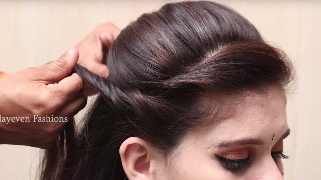 How To Make Quick Side Puff Hairstyle Side Puff Hairstyle For Long Ha Hair Puff Hairstyle Party Hairstyles