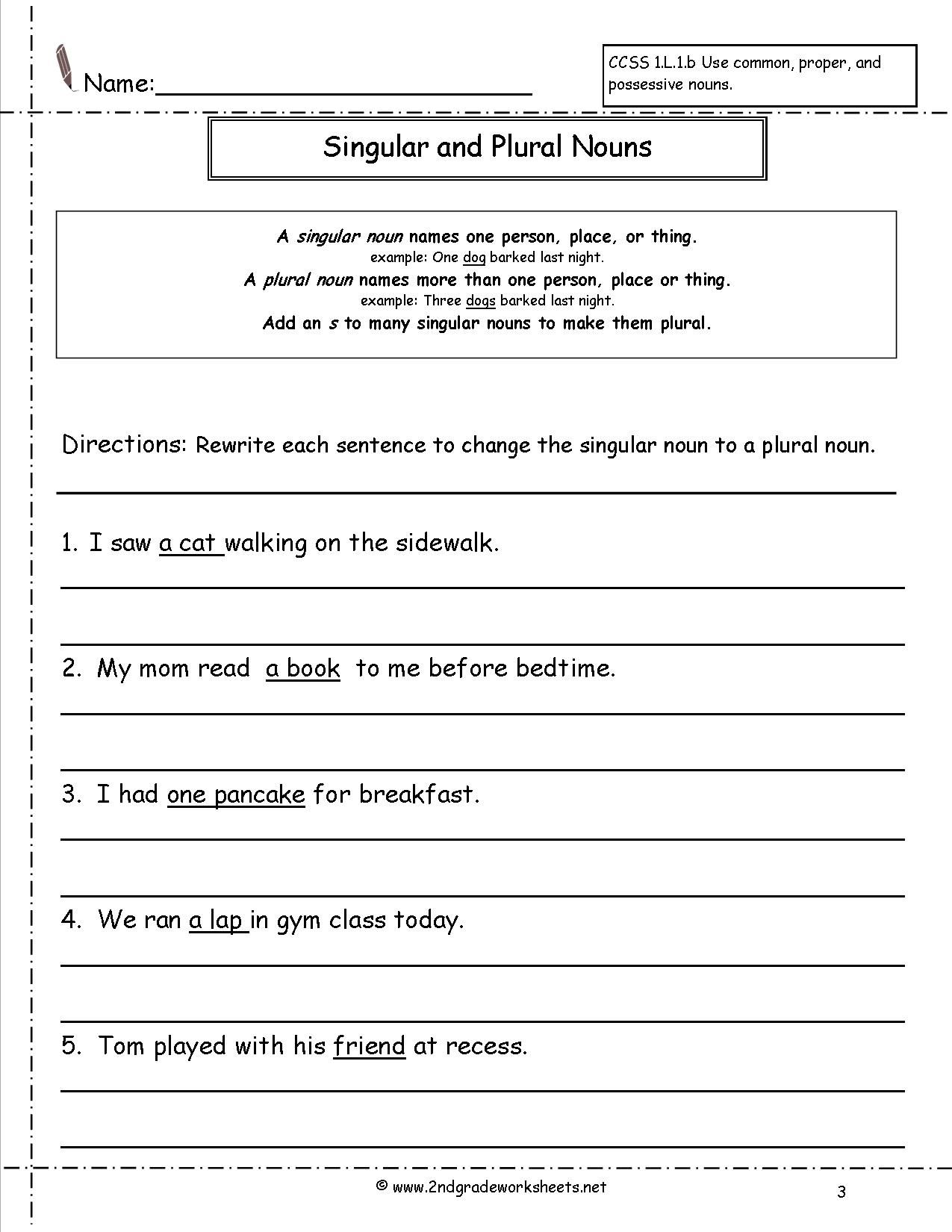 Singular And Plural Nouns Worksheet Teacher Stuff Pinterest