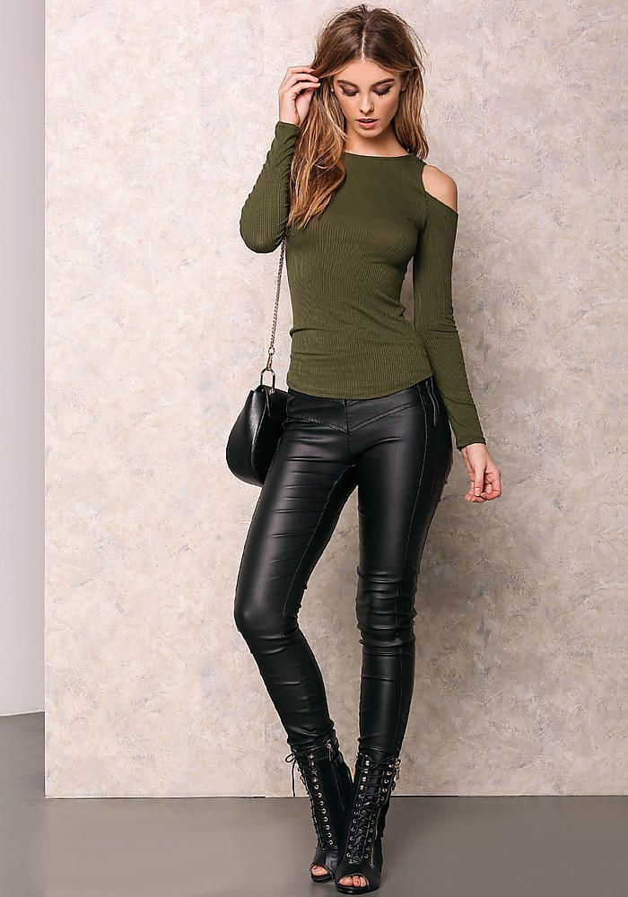 9d36c485505aec Olive Cold Shoulder Ribbed Long Sleeve Top - LoveCulture.com ♡