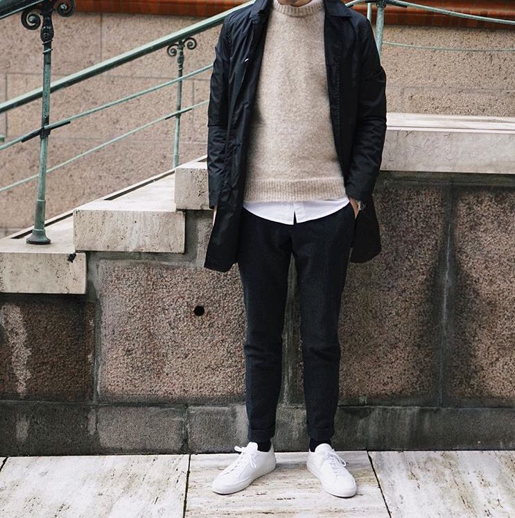 Fredrikrisvik beige sweater, white shoes, men style, black