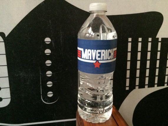 custom top gun inspired water bottle labels