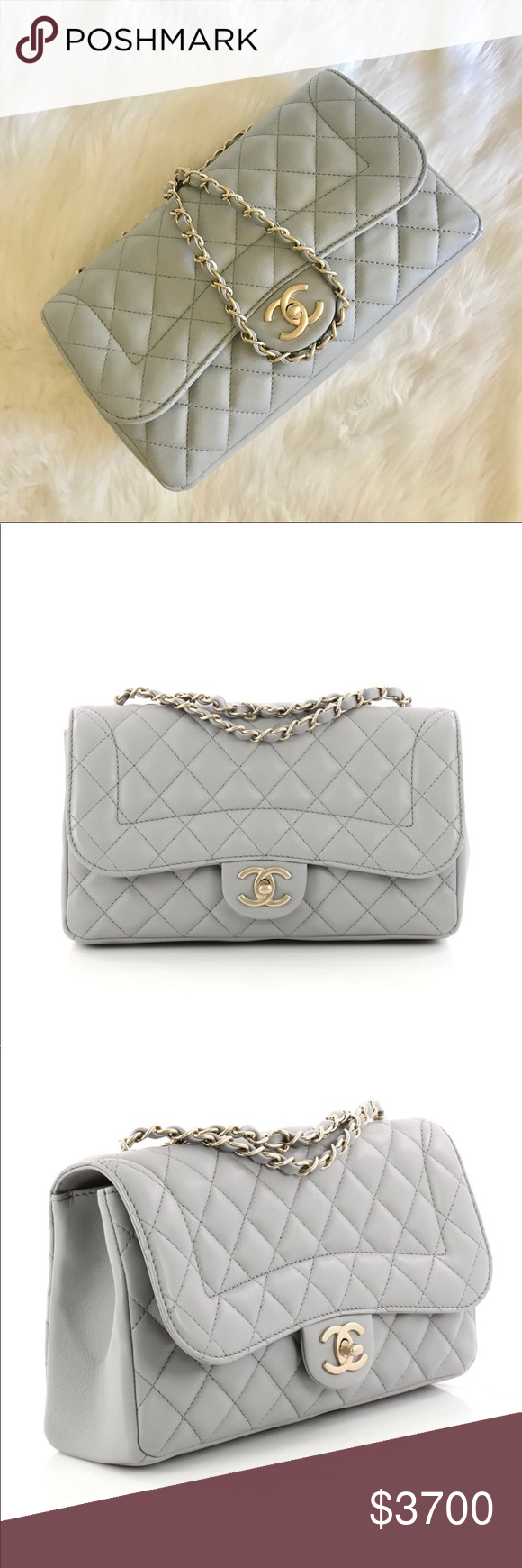 1e5f47728a7aef Chanel Mademoiselle Chic Flap chain bag Like new Chanel flap bag with chain  in medium with dustbag and authenticity card. In a shade of light grey.  CHANEL ...