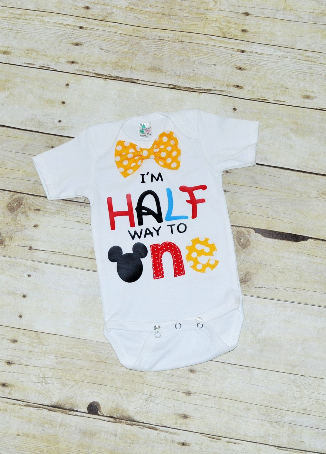 Its My Half Birthday Shirt 1 2 Bodysuit Mickey Way To One By RYLOwear On Etsy