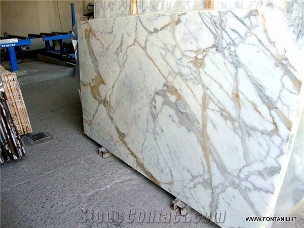 Calacatta Gold Marble Slab Own Quarry From Italy Stonecontact