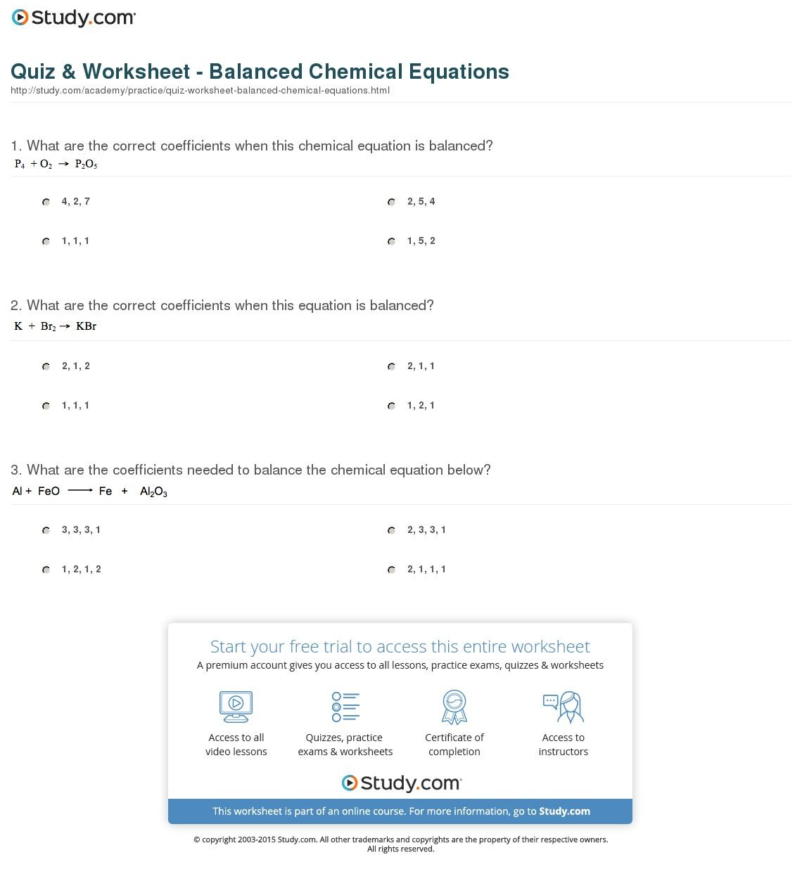 37 Simple Balancing Equations Worksheet Ideas