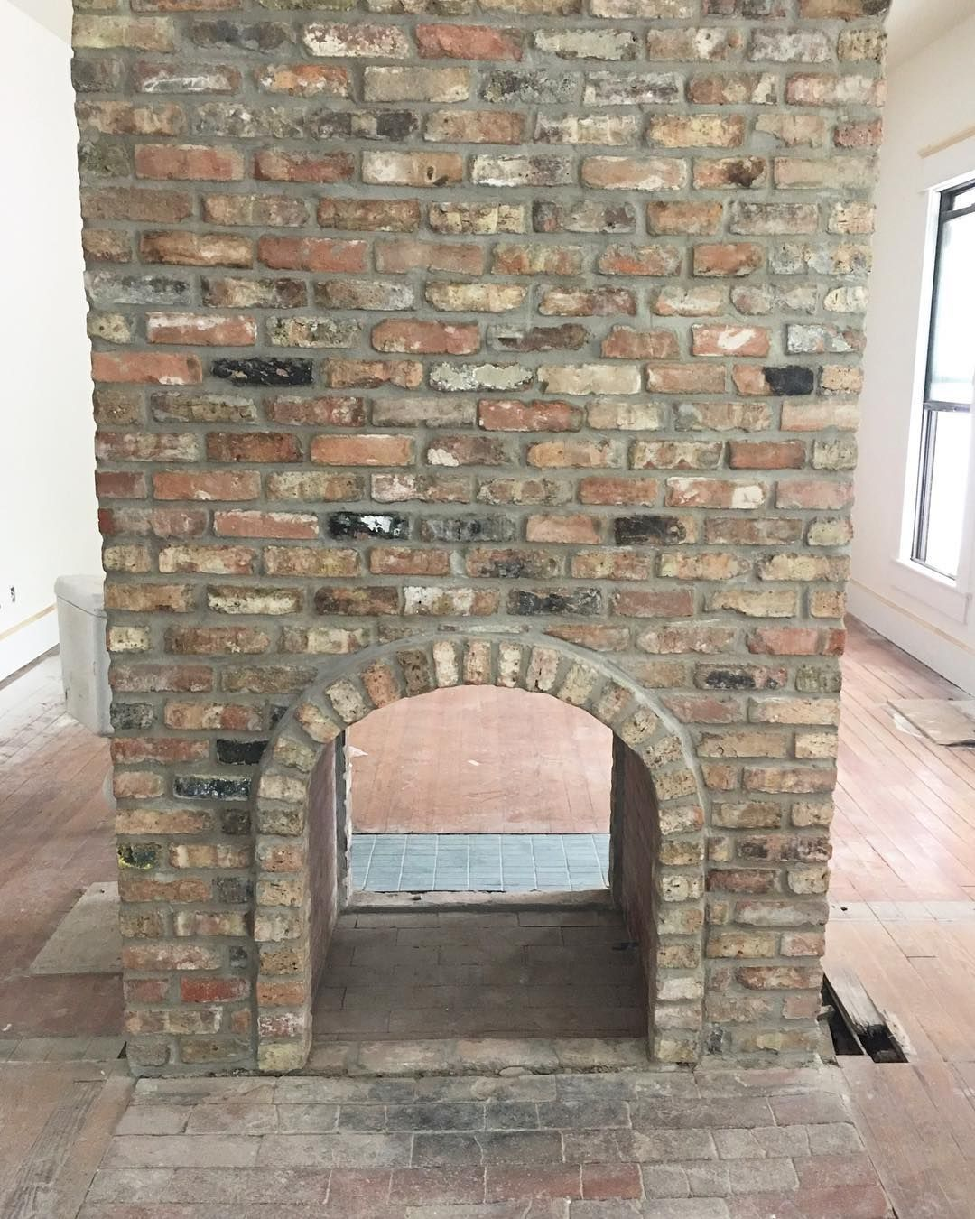 New Fireplace Made To Look Old We Used Antique Bricks Build A Where There Was Once One Originally Built Hundred Years Ago Fixerupper