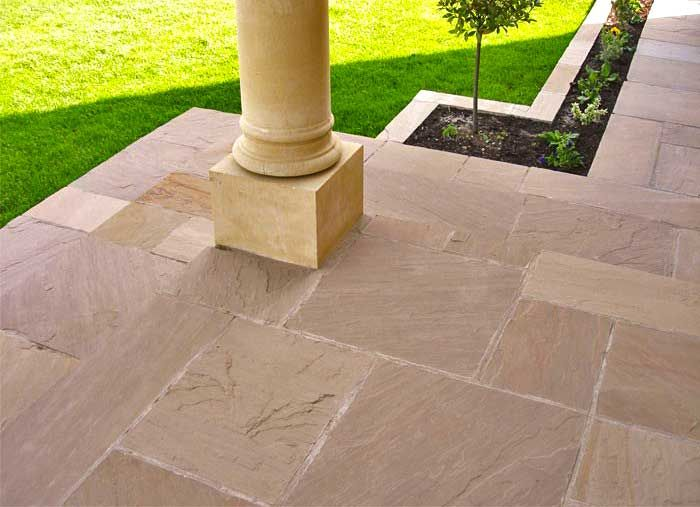 raj green sandstone paving patio kitpatio kitbrown grey green plum