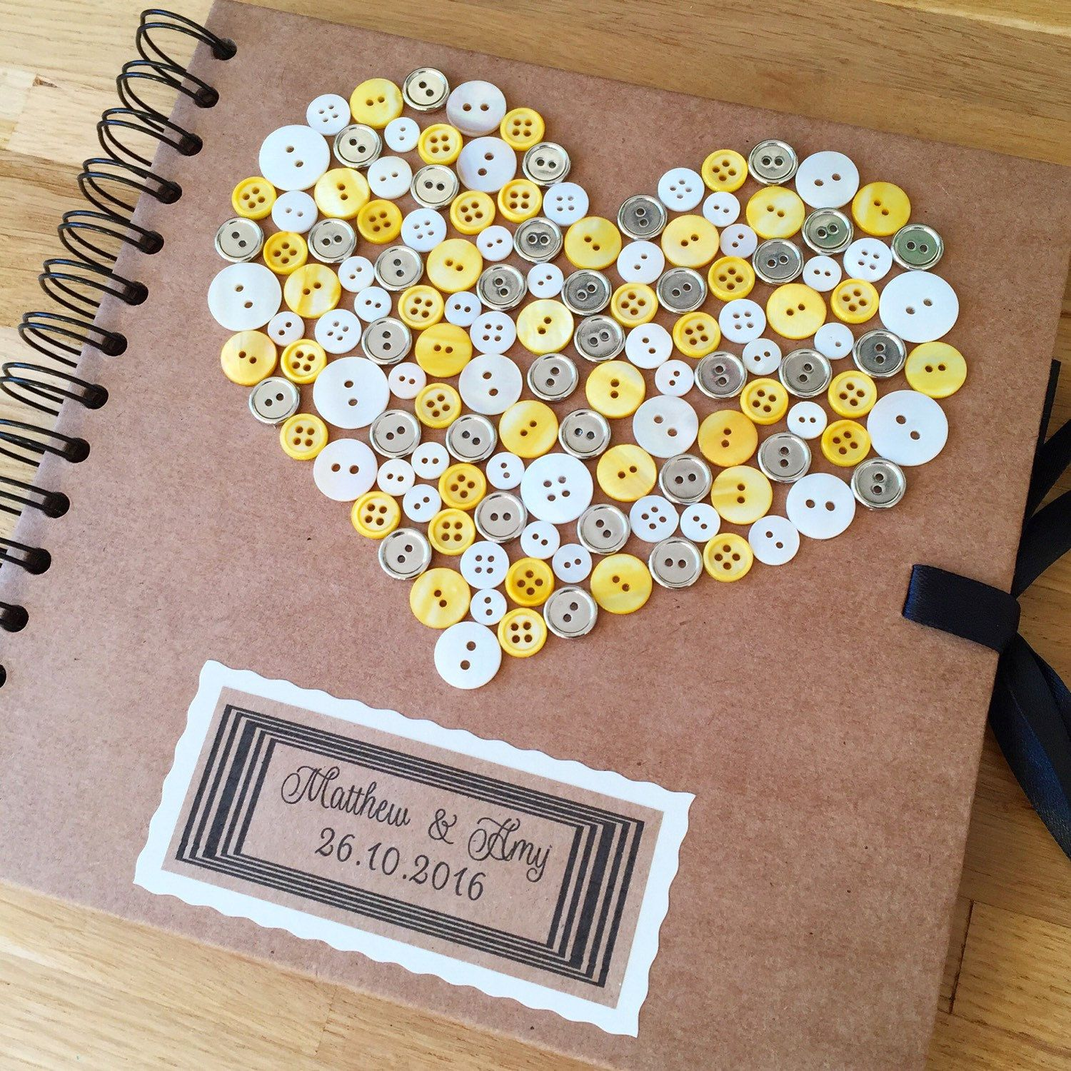 Yellow, white & silver guestbook