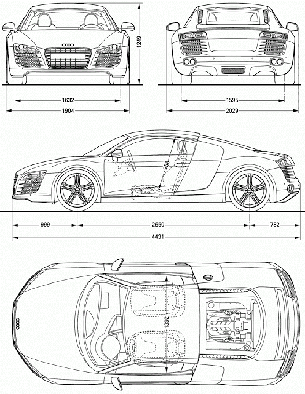 Download Car Blueprint of Audi-R8 | Car Blueprints | Pinterest ...