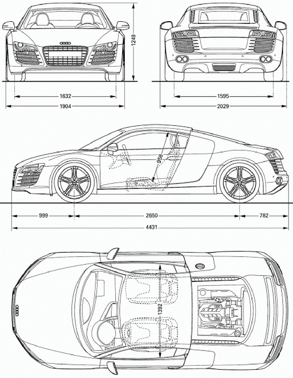 Download Car Blueprint of Audi-R8 | Car Blueprints | Autos ...