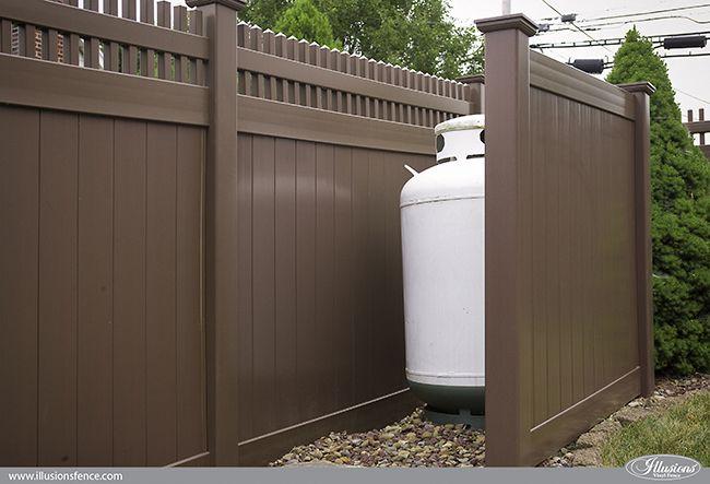Brown Pvc Vinyl Privacy Fence From Illusions Shower Trashcan Propanetank Enclosures Illusionsfence Homedecor Backyardideas Homeideas