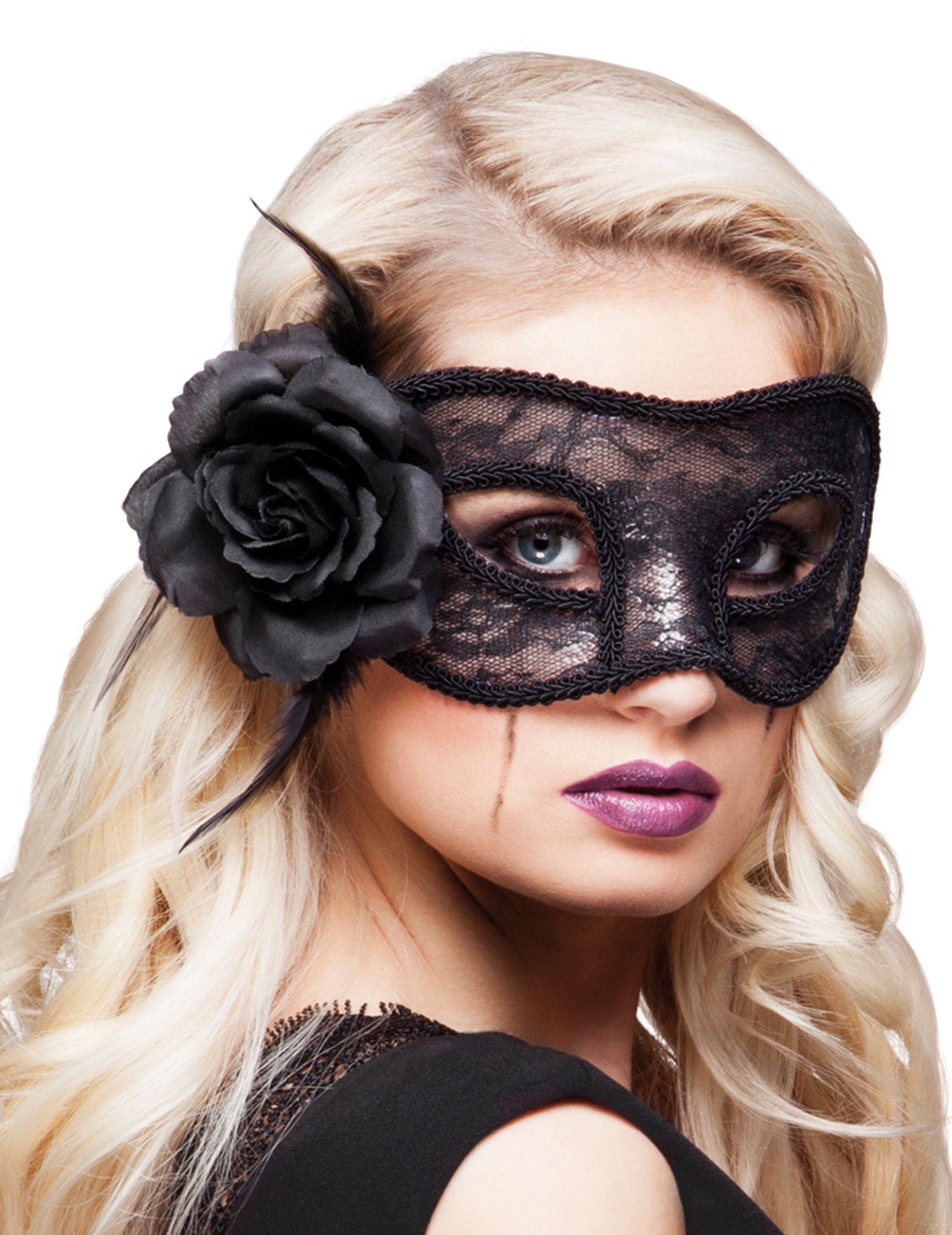 e75b2de2afc788 Dit zwarte kanten masker met roos voor vrouwen zal een perfecte aanvulling  zijn op uw Venetiaanse carnavalskleding! - Nu verkrijgbaar op Vegaoo.nl