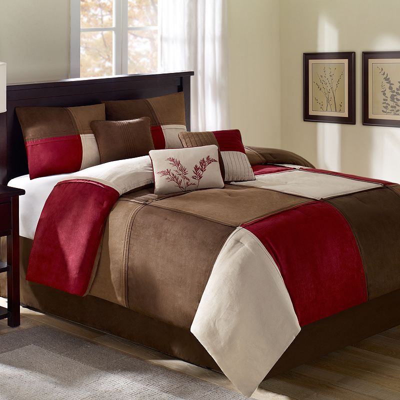 Modern Bedroom With Red Brown Kohls Comforter Sets Queen Size