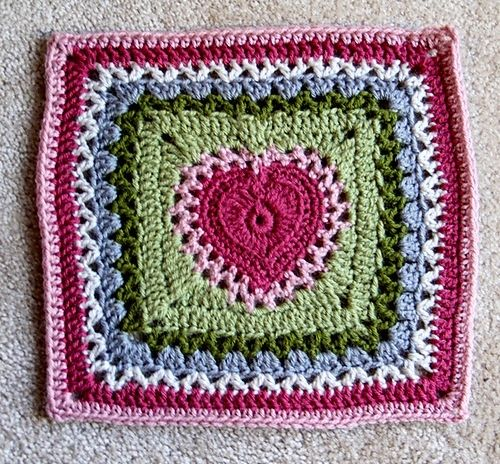 Free crochet heart square pattern. Cute for a afghan or pillow ...