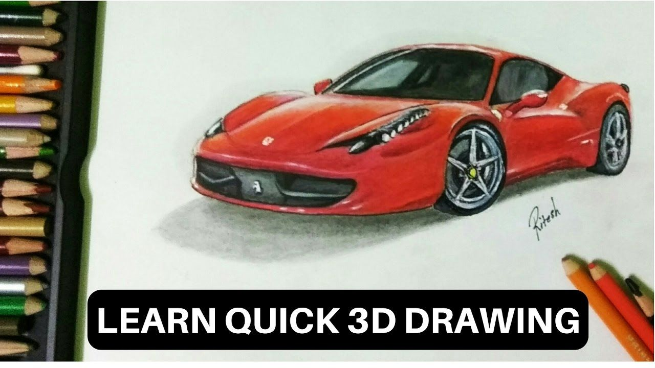 How to draw realistic ferrari car learn 3d drawing new quick method