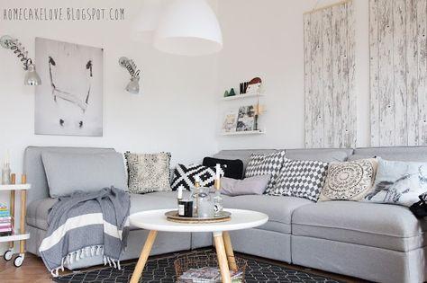 Ikeasofa, neues Sofa von Ikea, Vallentuna von Ikea, Sofa in grau - graue tapete wohnzimmer