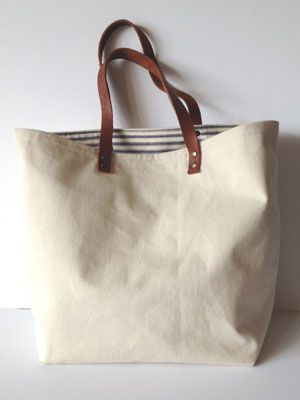Sew a tote bag with leather handles: free sewing pattern: | Sewing ...