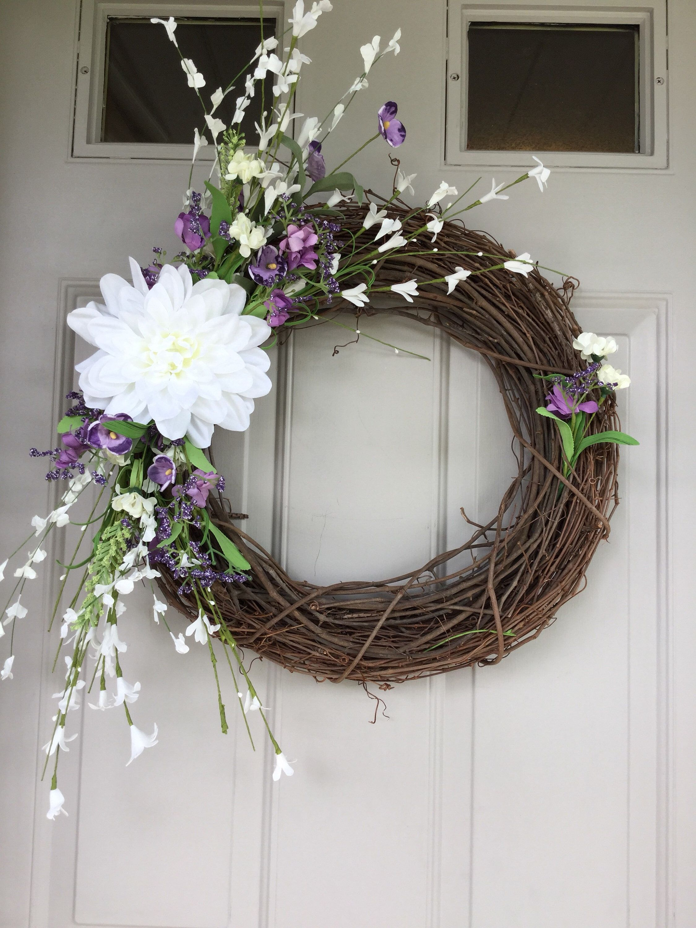 #Purple #Grapevinewreath #Summerwreath #Whitedahlia A Personal Favorite From My Etsy
