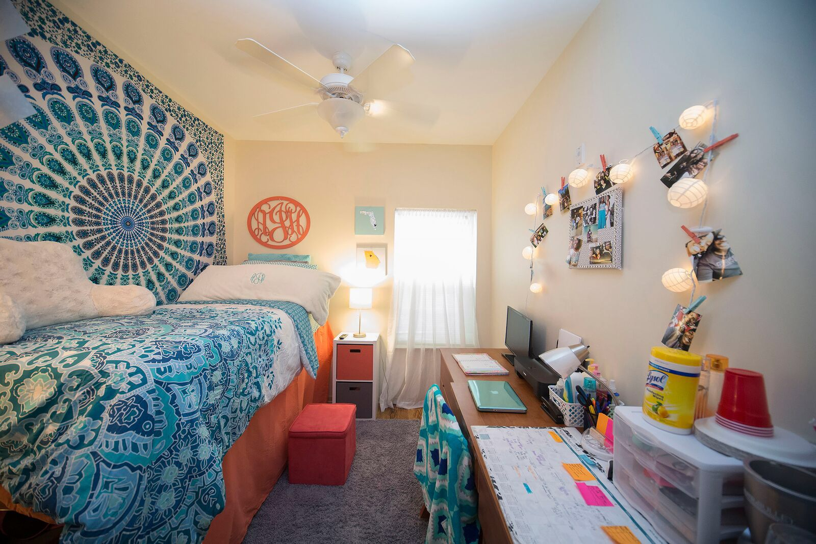 My dorm room at Valdosta state university  -tapestry Amazon  -sheets bed bath and beyond  -monogram etsy  -lights target  -cube store target  & more
