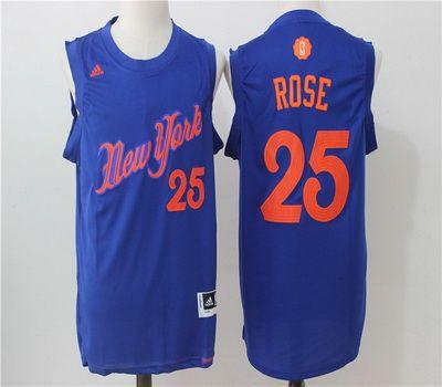 2a617cbe4 NBA New York Knicks 25 Derrick Rose Blue 2016 2017 Christmas Xmas Day  Basketball Jersey