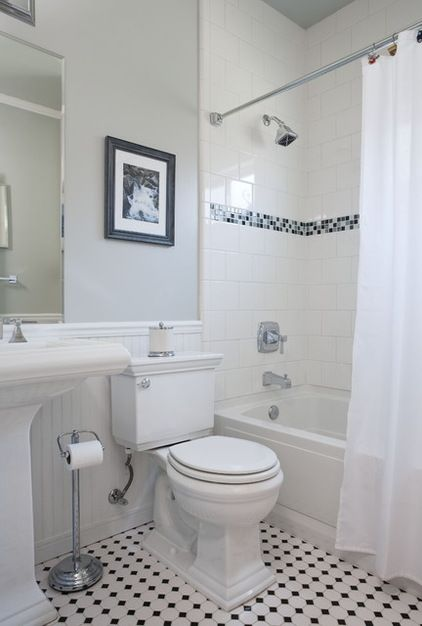 Black White Mosaic Floor Square Tiles In Shower Set With Brick