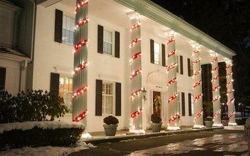 candy cane column decoration eclectic landscape detroit berns landscaping christmas porch
