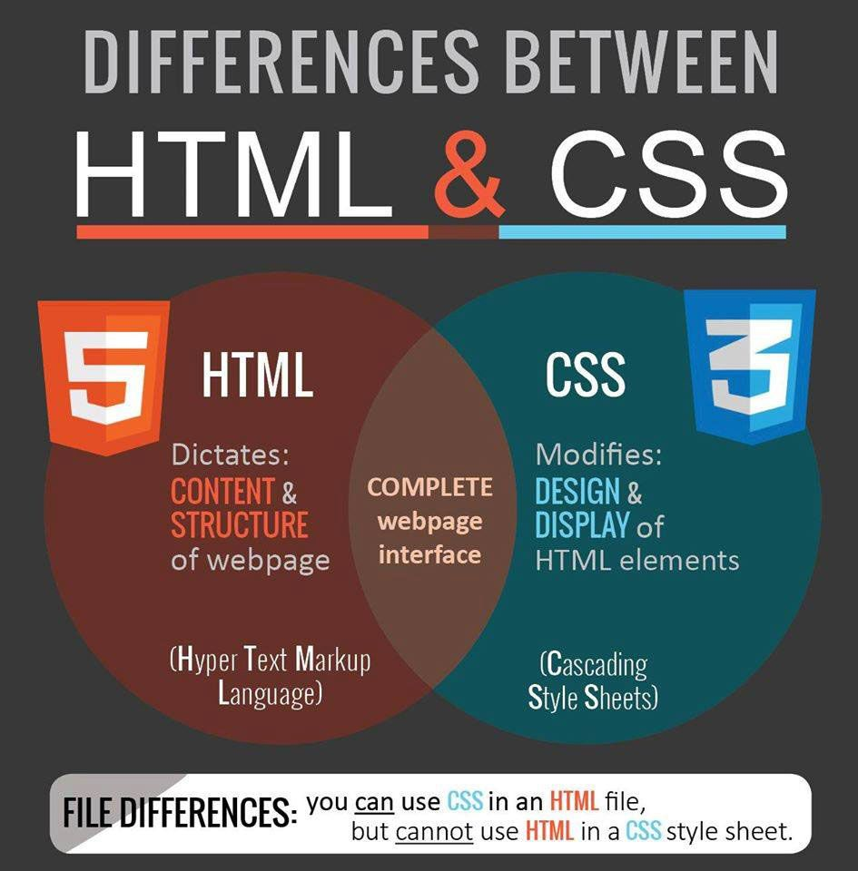 Basic Difference Between Html And Css Html Css Webdev Css Style Web Design Markup Language