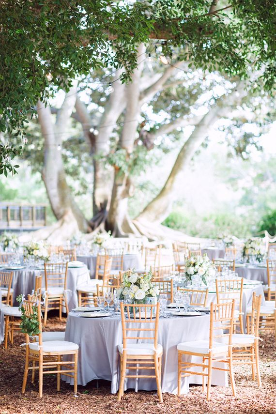 Beautiful Garden Reception With Light Blue Table Linens And
