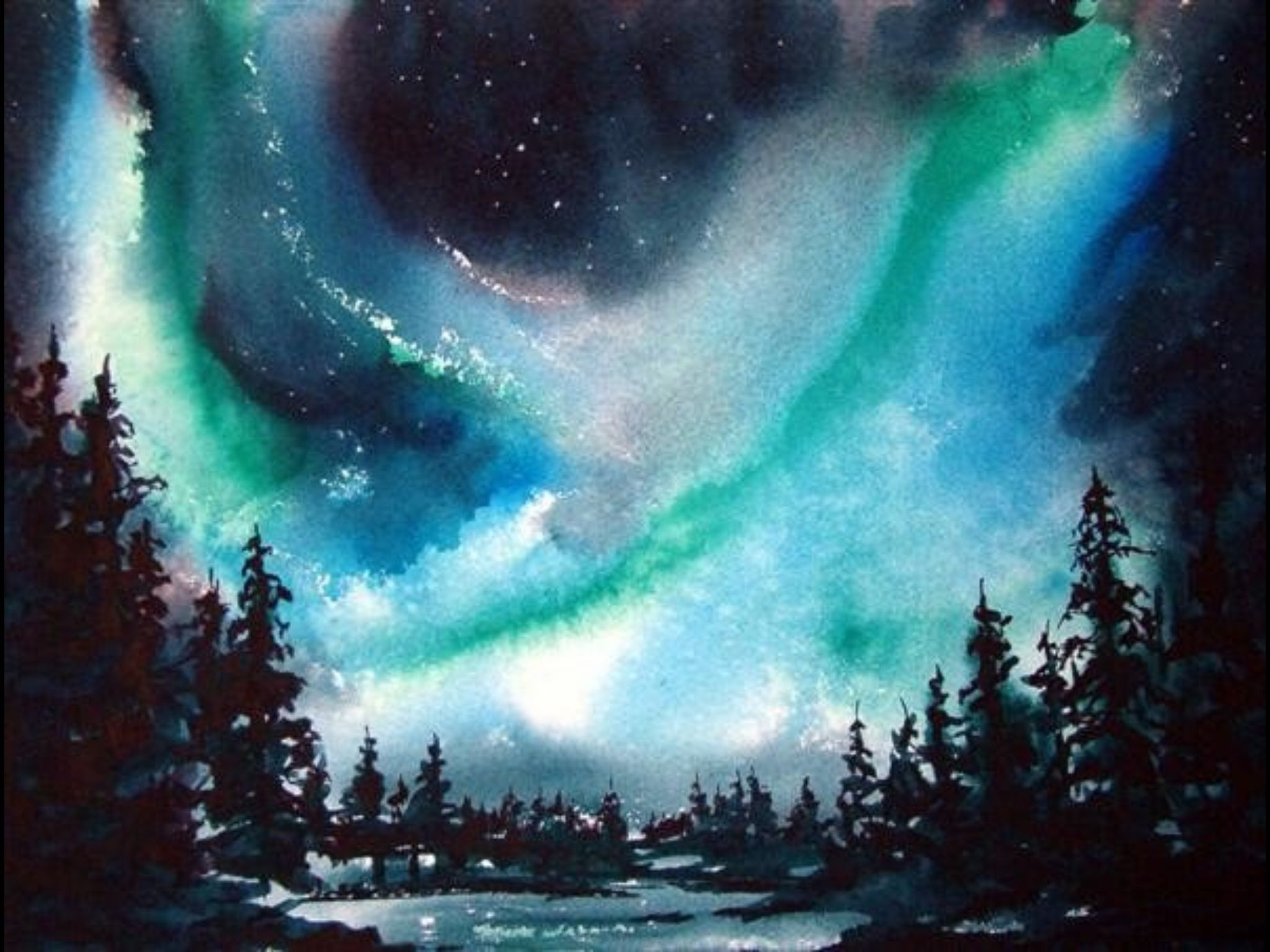 northern lights 11in x 14in watercolour painting by ken