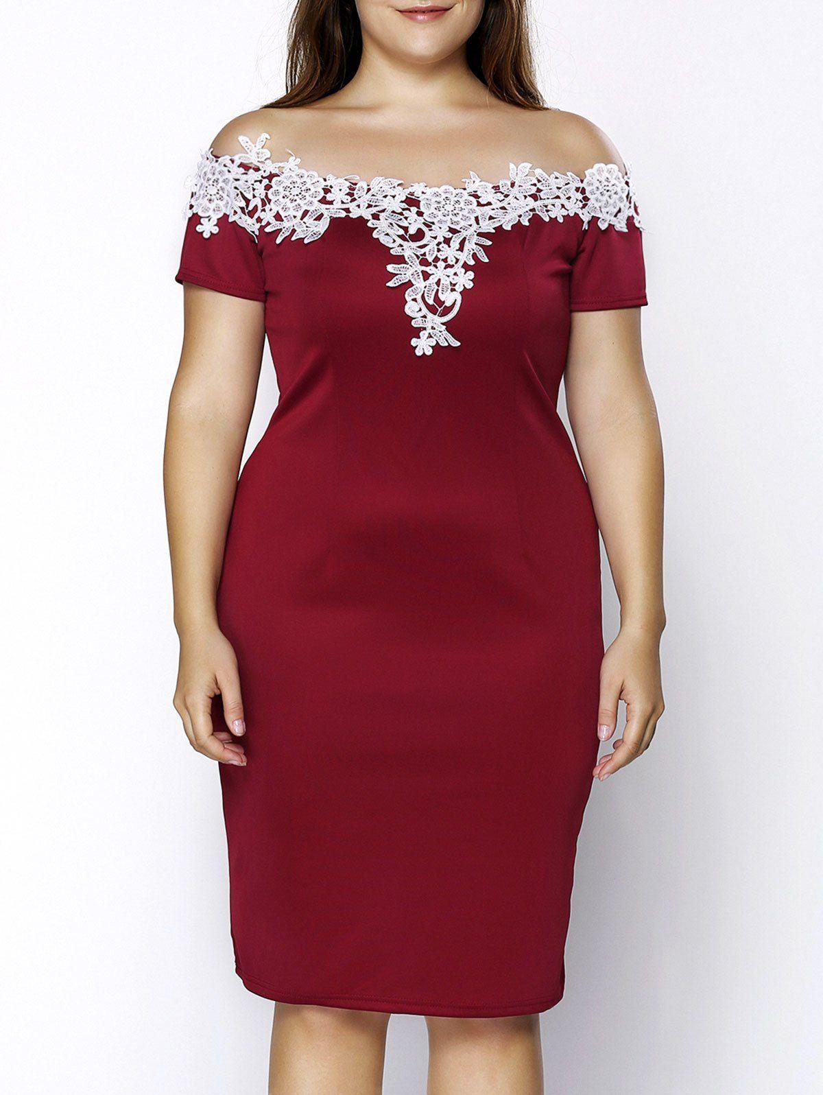 Trendy Plus Size Crochet Off The Shoulder Short Sleeve Dress For