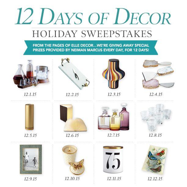 Don't Miss Out: ELLE DECOR's 12 Days Of Giveaways  - ELLEDecor.com