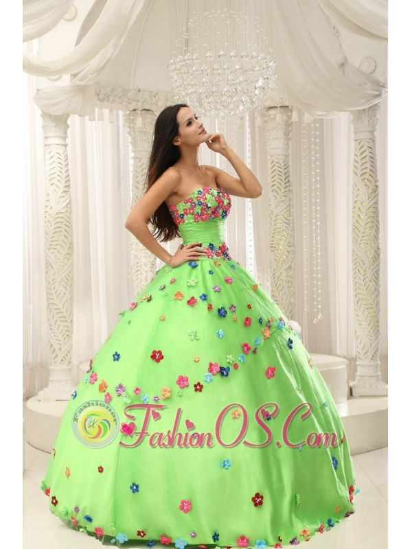 Spring Green Ball Gown 2013 Quninceaera Gown For Custom Made Appliques Decorate Bodice  http://www.fashionos.com  No one will overlook you when you make your grand entrance in this enticing strapless ball gown quinceanera dress! Its pretty, corset-style bodice features a sexy sweetheart neckline,whille the bust, the hip line and the skirt are decorated with colorful tiny flowers which do really dramatic and charming. Long layers of diaphanous material flare to the floor on the skirt.