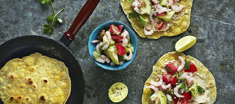 Itsetehdyt tortillat ja katkaraputäyte