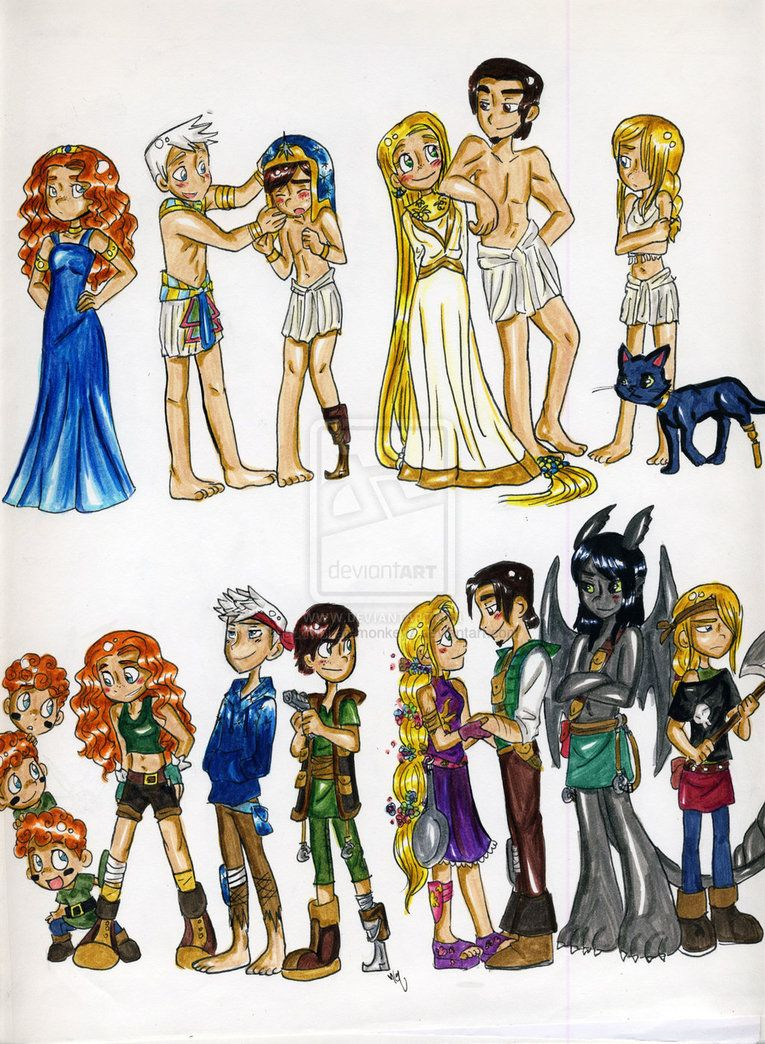 From top left corner: Merida, Jack Frost, Hiccup, Rapunzel and Flynn, Astrid and Toothless as a cat From bottom left corner: the Triplets(from Brave) Merida, Jack and Hiccup, Rapunzel and Flynn, Toothless and Astrid