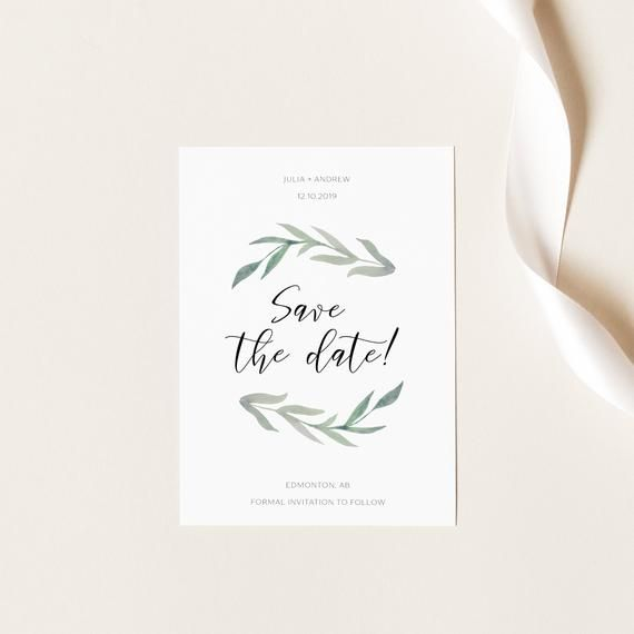 Photo of Eucalyptus Wreath Save the Date, Save the Date Card, Watercolor Save Our Date, Engagement Announcement, Editable PDF Instant Download