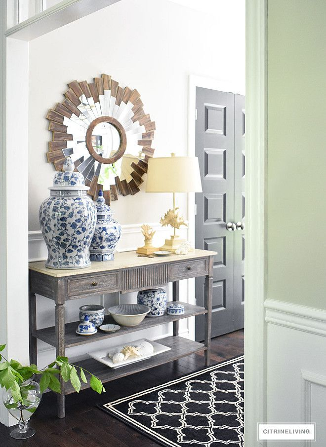 Entryway Blue And White Ginger Jars Fresh Greenery Console Table Starburst Mirror Entryway Blue And White Ginger Jars Fresh Foyer Decorating Decor Entry Decor