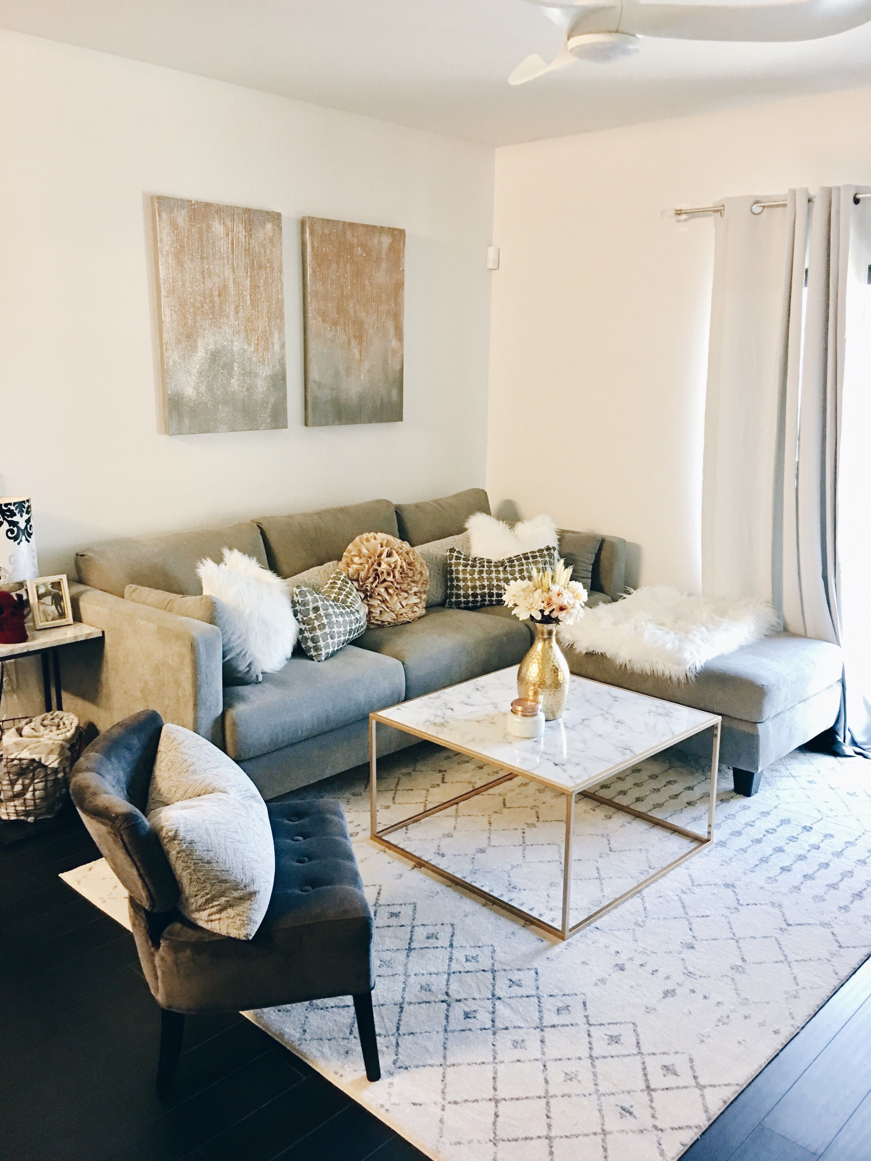 White Grey And Gold Apartment Living Room Apartment Living Room