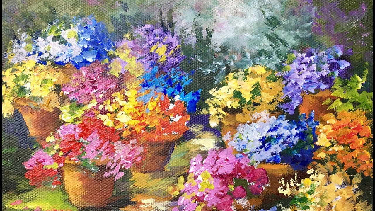 Pots Of Flowers A Beginner Acrylic Painting Tutorial By Ginger