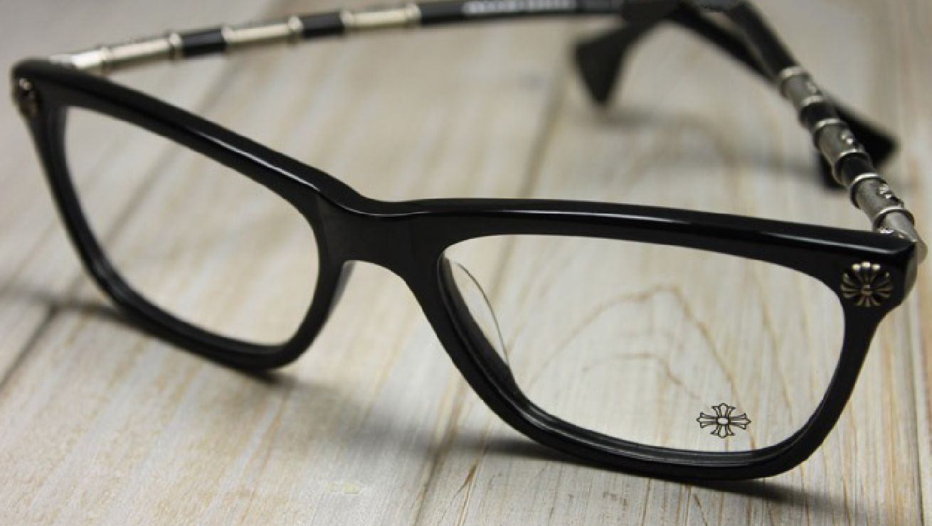 CHROME HEARTS LOVE TUNNEL BLACK ACETATE AND SILVER METAL [CH cross ...