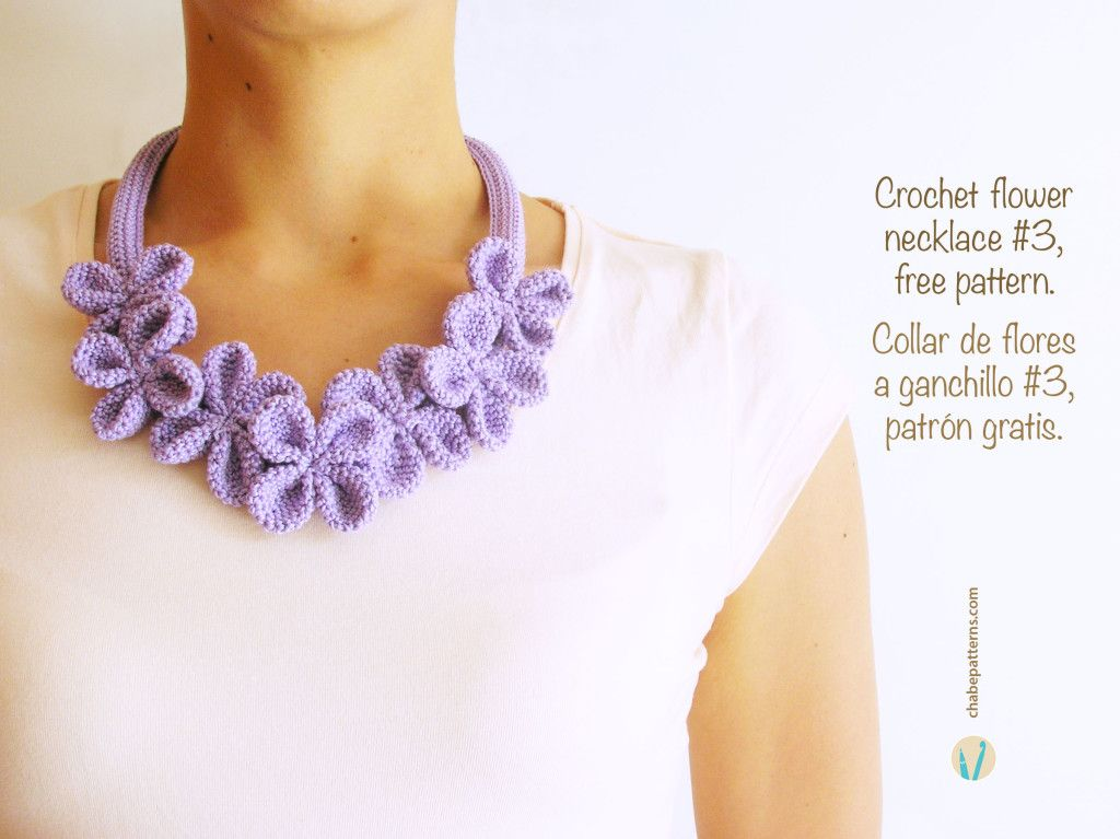 Crochet Flower Necklace #3, free crochet pattern by ChabeGS: This ...