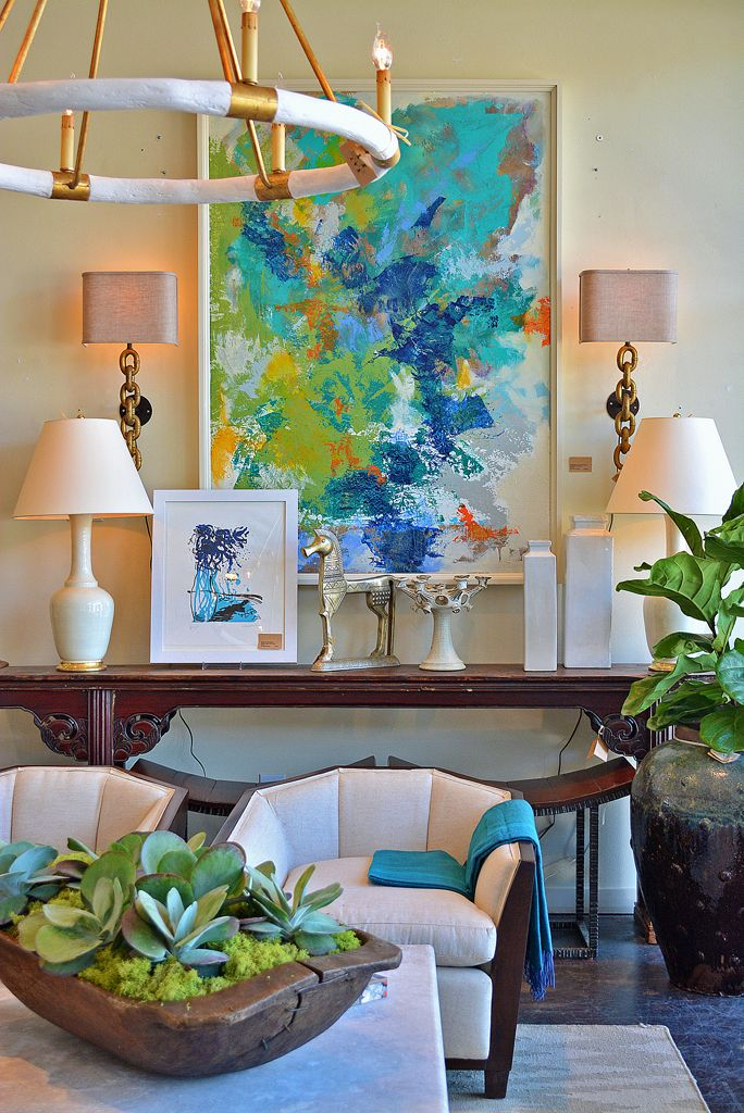 colorful abstract art with cream and brown furniture vignette rh pinterest com