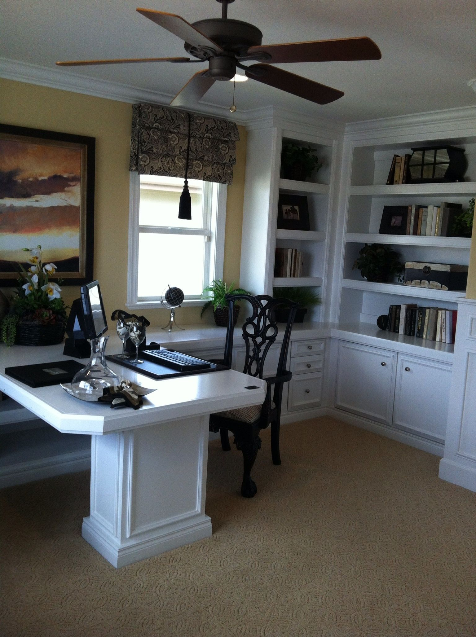 Home Office dual desk setup Office ideas Pinterest